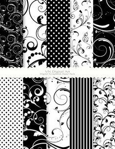 "Digital Scrapbook Paper Pack (8.5x11""-300 dpi) -- Instant Download -- 10 Digital papers -- Swirls 121"
