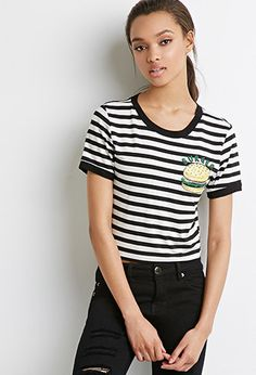 Striped Burger Tee | Forever 21 - 2000155917