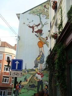 Brussel, België. Streetart, gebaseerd op de Nero-strips van Mark Sleen (pseudoniem van Marcel Neels)