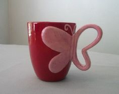 Butterfly Mug in Bright Red and Speckled Pink by TLCCeramicsIL,