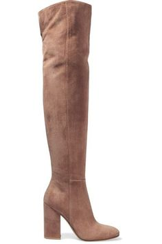 Heel measures approximately 100mm/ 4 inches Taupe suede Zip fastening along side Designer color: Praline Made in Italy