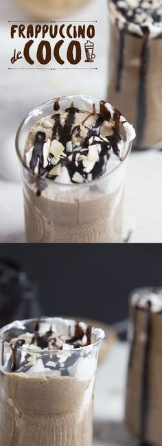 Cremoso y helado frappuccino con leche de coco. Creamy and frappuccino ice cream with coconut milk. Dessert Drinks, Yummy Drinks, Delicious Desserts, Dessert Recipes, Yummy Food, Cold Drinks, Beverages, Chocolate Frappe Recipe, Chocolate Desserts