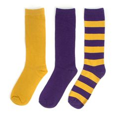 Purple + Gold 3-Pack Crew Socks #NFL #NBA #Vikings #Minnesota #Lakers #LSU #Tigers #Ravens