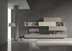 "PRESOTTO | Base units with plinth and wall units in matt beige cappuccino lacquer, L-shaped shelf and central wall unit in beige seta ecomalta®.__ Basi con zoccolo ed elementi pensile in laccato opaco beige cappuccino, mensola ad ""L"" ed elemento pensile centrale in ecomalta® beige seta."