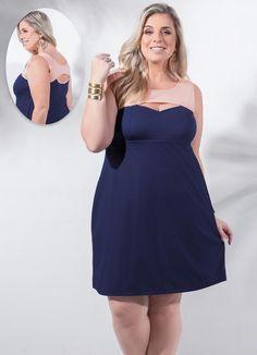 Vestido Detalhe Vazado (Marinho) Plus Size