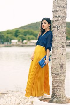Blog da Lê-Moda Acessível: No look mostarda e azul