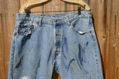 Vintage Levis 501's 38/32s Distressed Boat Painters Jeans Nice And Worn On Front With Paint & Words Dock 14 1PM, Clean On The Rear With Tag!