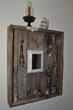 Rustic, Reclaimed, Recycled, Salvaged, Rough Cut, Shabby Chic. Barn Wood, Wall Vanity & Jewelry Organizer (Item 006)