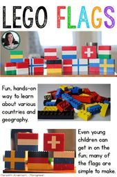Flag Fun with LEGOs! Flag Fun with LEGOs! Hands-on geography LEGO build that is great fun while the Olympics are taking place (but can be done any time you are studying flags of the world or counties). Hands On Geography, World Geography, Geography Activities, Lego Activities, Teaching Geography, Continents Activities, Culture Activities, Diversity Activities, My Father's World