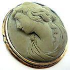 Stunning Antique 15K Gold Carved Lava Cameo Bracelet Cherubs Dogs etc C1840