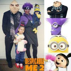 Halloween Family Costume idea Gru Agnes minion purple evil minion Despicable Me 2