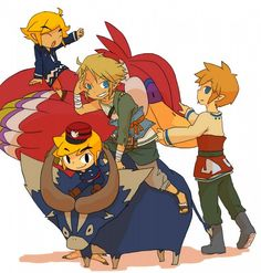 Link in regular clothes throughout the games on a Twilight Princess goat; out of the hero's garb - The Legend of Zelda