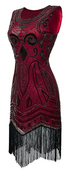 eforpretty 1920s Long Prom Vintage Gatsby Bead Sequin Art Nouveau Deco Flapper Dress(Red, L) at Amazon Women's Clothing store: