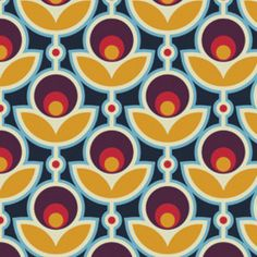 Sateen Primrose in Midnight (Navy, Red, Yellow) by Joel Dewberry - Notting Hill Collection - 1 yard, Additional available