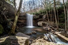 Cucumber Falls is one of six waterfalls at Ohiopyle State Park in Pennsylvania.