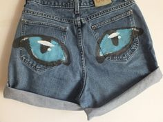 LEE Hand Painted Blue CatEye Shorts Size 14 by MadMixFashion, $33.50