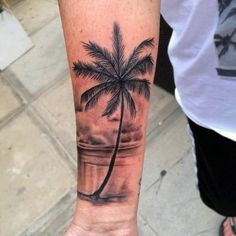 Male Wrist Black Palm Tree Tattoo