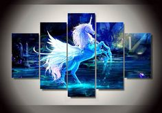 Unframed Printed pictures unicorn horse Group Painting room decor print poster picture canvas Free shipping 5 pieces wall art