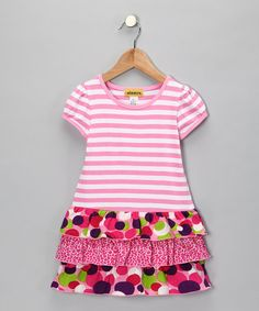 Take a look at this Pink Stripe Ruffle Dress - Toddler & Girls by Dizzy on #zulily today!