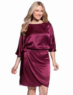 1a9d27e071158 BURGUNDY- Hammered Satin Drop Waist Dress - eloquii by The Limited) Plus  Size Fashionista