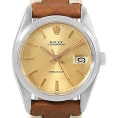 c8bb461d707 17515 Rolex OysterDate Precision Brown Strap Steel Vintage Mens Watch 6694  SwissWatchExpo