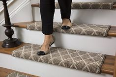 Jardin Wool Inspired Bullnose Carpet Stair Tread With Adhesive Padding    Fontainebleau, By Tread Comfort Wide   Single, Beige)