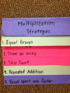 Grade with Mrs. Wade: Math-- great multiplication strategies and tips on teaching multiplication Multiplication Strategies, Math Strategies, Math Resources, Math Activities, Addition Strategies, Teaching Multiplication, Division Strategies, Multiplication Problems, Math Vocabulary