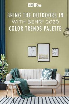 Love the great outdoors? Bring all of that natural beauty inside the walls of your home with the BEHR® 2020 Color of the Year: Back to Nature. Featured here in this modern living room, this color coordinates beautifully with wood tones, neutral colors, and pops of dark jade. Click below to learn more.
