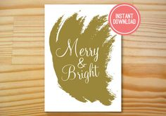Gold Merry & Bright Printable Christmas Card by Danielle Robbins Designs