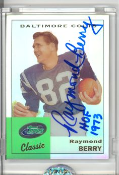 eTopps in Hand Classic Raymond Berry Hand Signed Autograph COA Colts HOF | eBay