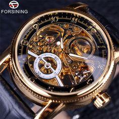 Forsining Hollow Engraving Skeleton Casual Designer Black Golden Case Gear Bezel Watches Men Luxury Brand Automatic Watches