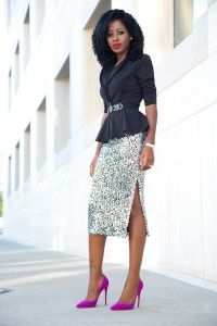 Outfit Details: Blazer (old): Similar here or here Dress Skirt, Lace Skirt, Midi Skirt, Sequin Skirt, Look Fashion, Womens Fashion, Peplum Blazer, Style Pantry, Wardrobes