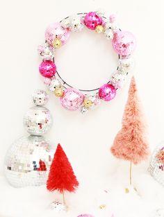 Disco ball wreath & disco ball snowman w #anthrofave bottle brush trees