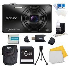 Sony DSC-WX220/B DSCWX220 WX220 WX220B DSC-WX220 Black Digital Camera Bundle - Includes Camera, 16GB SDHC/SDXC Memory Card, Carrying Case, NP-BN1 Battery, SD Card Reader, Flexible Mini Tripod, & More. DSC-WX220 Black Compact Point and Shoot Digital Still Camera. 16GB SDHC/SDXC Memory Card, Ultra-Compact Digital Camera Deluxe Carrying Case. NP-BN1 Battery, Hi-Speed SD USB 2.0 Card Reader. Flexible Mini Table-top Tripod, 3 Pc. LCD Screen Protectors. Micro Fiber Cloth, 3 Pc. Lens Cleaning Kit.