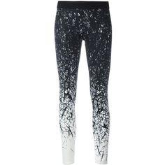 Reebok Brushes Print Leggings ($67) ❤ liked on Polyvore featuring pants, leggings, print pants, patterned leggings, black white leggings, reebok pants and reebok