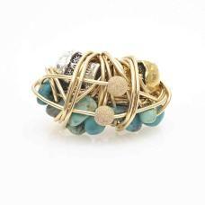 Gold, Turquoise and Skull Yamuna Maa Ring