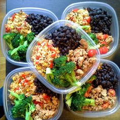 Southwestern style meal prep! Beans, ground turkey and tomatoes, broccoli and brown rice with corn, red peppers, green onions and cilantro. Gluten free