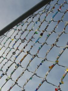 Street art: Beaded Fences This is an amazing idea, but wow. This would take forever!