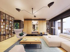 Family friendly home packed with modern decor ideas & home design features for different rooms. Find storage ideas, new furniture styles and colour combinations Flat Interior, Apartment Interior, Interior Design, Furniture Styles, New Furniture, Futuristisches Design, Lounge, Skyfall, Contemporary Interior
