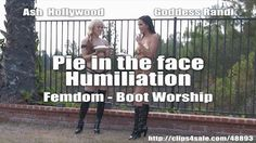 Boot Worship and pie in the face femdom humiliation.