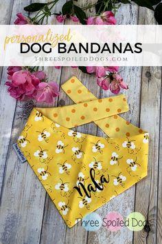 personalized pet bandana - dog bandana - bumble bees personalized bandana by Three Spoiled Dogs Personalized Dog Beds, Puppy Bandana, Bandana For Dogs, Dog Boutique, Dog Crafts, Creation Couture, Dog Costumes, Diy Stuffed Animals, Pet Clothes