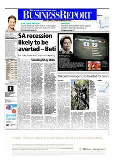 The front page of today's (July 10, 2014) Business Report paper deals with the news that the recession may be averted, Telkom to cut jobs and impact of the platinum strike.   To read these stories and more click here: http://www.iol.co.za/business