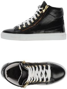 NBR1 スニーカー&テニスシューズ(ハイカット) / black leather sneaker on ShopStyle