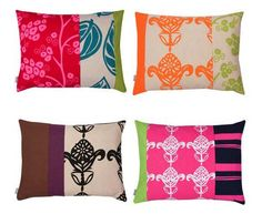 I like the idea of mixing fabrics when making pillows.  Great way to make them look like they all match