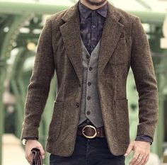 Men's Casual Blazer - Casual Clothes Casual Blazer, Blazer En Tweed, Blazers For Men Casual, Tweed Vest, Men Blazer, Blazer Jacket, Rugged Style, Style Casual, Style Brut