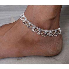 Silver anklet, Silver rope anklet, Silver ankle bracelet, Minimalist... ($10) ❤ liked on Polyvore