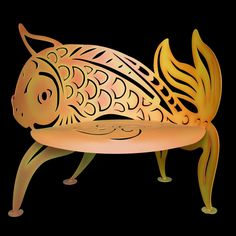 Curved Koi Bench by Cricket Forge, Artistic Functional Outdoor-Indoor Metal Furniture