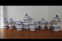Mid Century Blue Onion Coffee Set  Vintage by campeauscollectables
