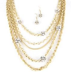 Multi Chain Rhinestone Cluster Earring And Necklace Set