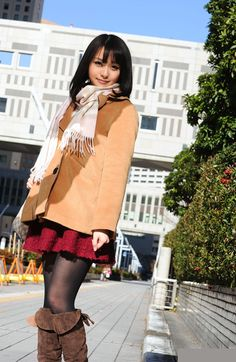 Cute Asian Style #skirt #boots #leggings #winter #fall #outfit I wouldn't wear that color of a jacket with that skirt tho..